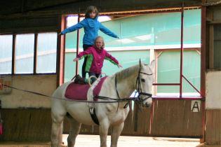 Kinder, die auf einem Pferd in der Reithalle des Hofes Berkenheide in Greven voltigieren.